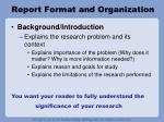 report format and organization4
