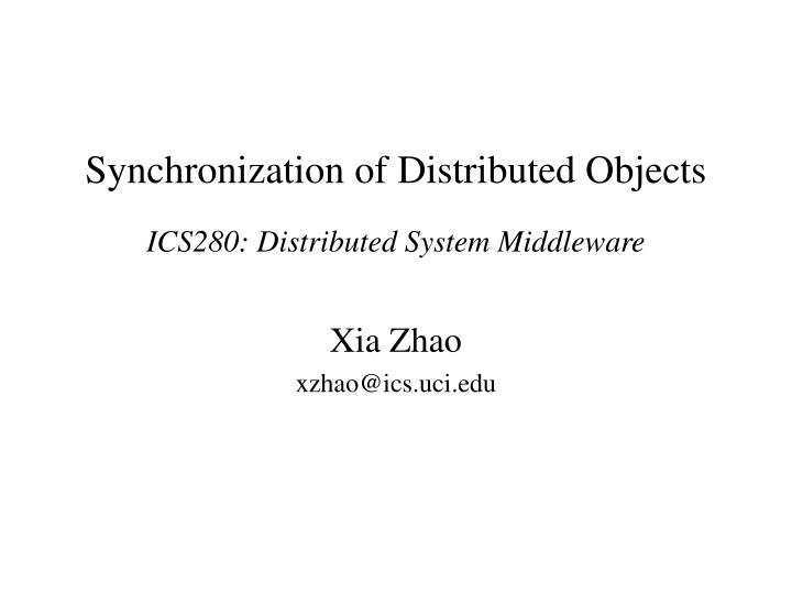 synchronization of distributed objects n.