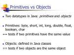 primitives vs objects