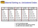 external sorting vs unclustered index