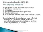estimated values for mdg 11 use of proxy indicators