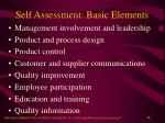 self assessment basic elements