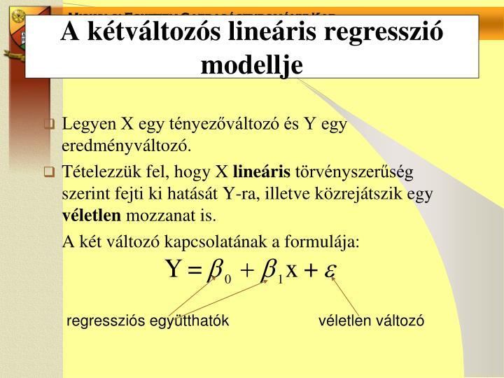 A kétváltozós lineáris regresszió modellje