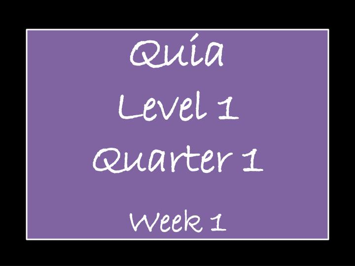 quia level 1 quarter 1 week 1 n.