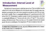 introduction interval level of measurement