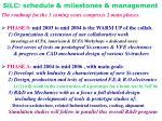 silc schedule milestones management