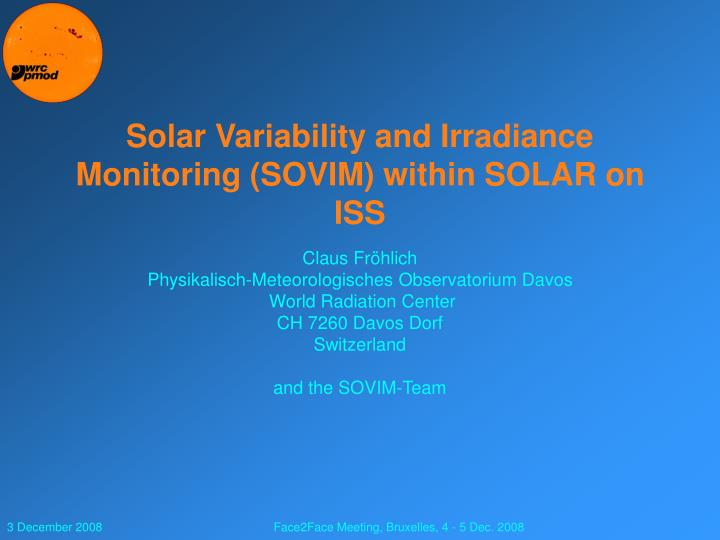 solar variability and irradiance monitoring sovim within solar on iss n.