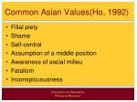 common asian values ho 1992