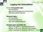 logging into sciencedirect