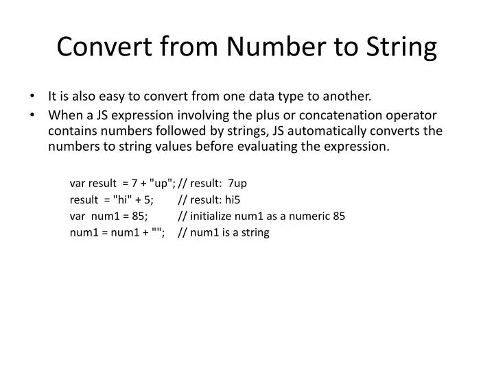 Convert from Number to String