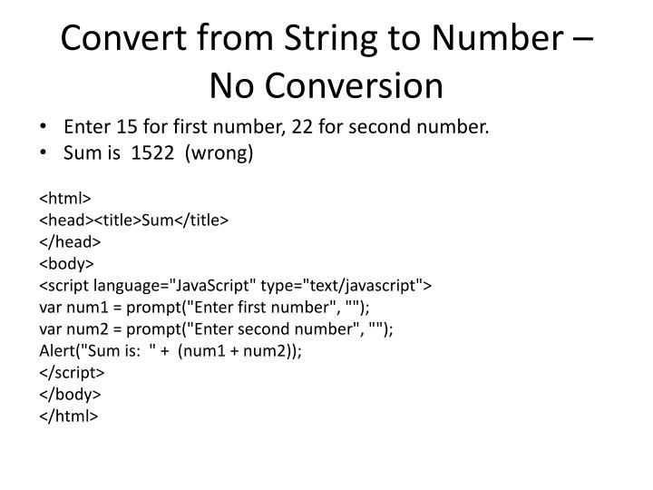 Convert from String to Number –  No Conversion