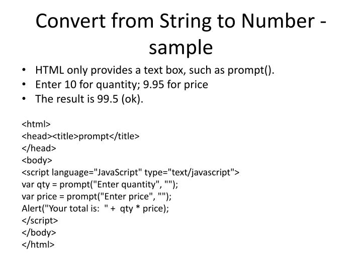 Convert from String to Number - sample