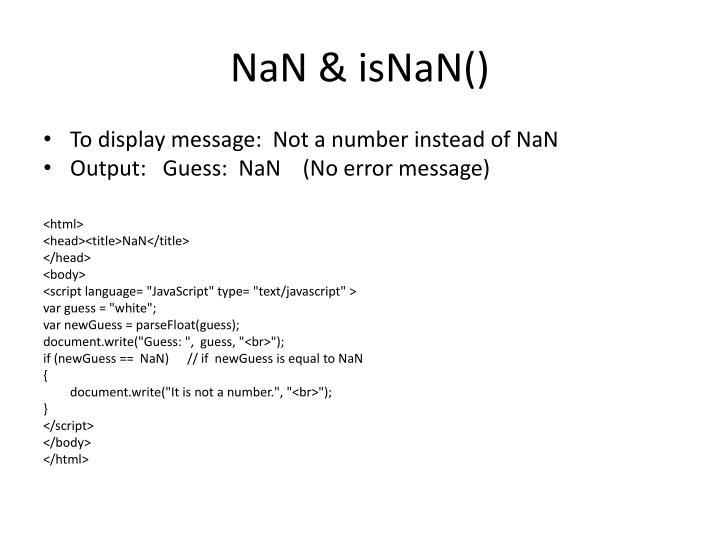 NaN & isNaN()