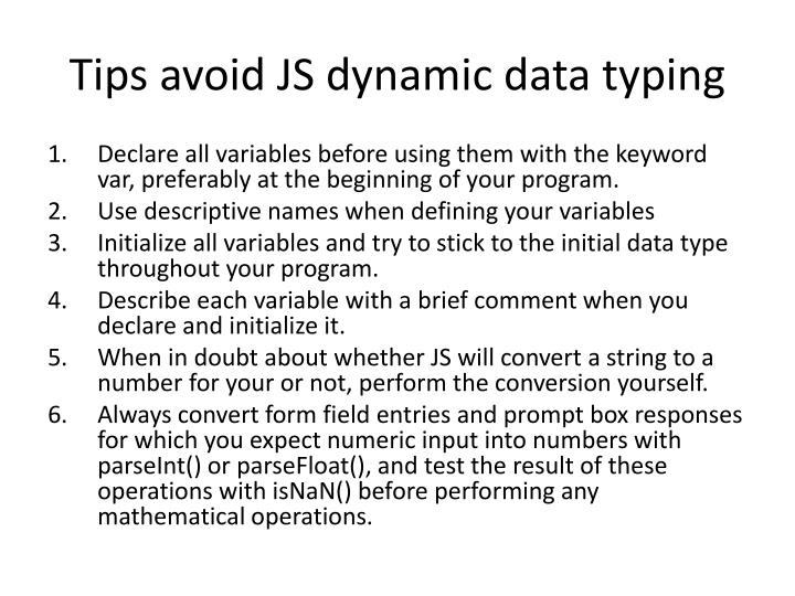 Tips avoid JS dynamic data typing