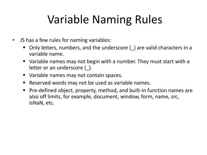 Variable Naming Rules