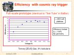 efficiency with cosmic ray trigger