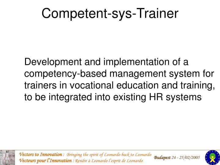 competent sys trainer n.