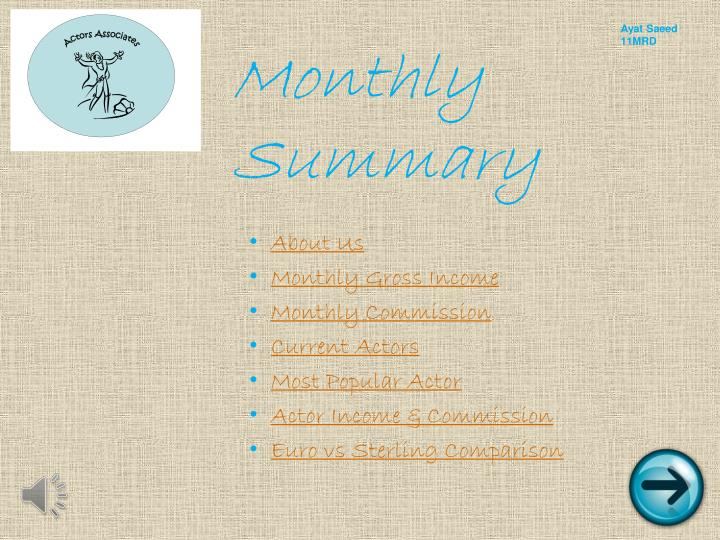 monthly summary n.