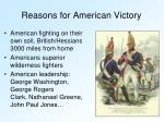 reasons for american victory