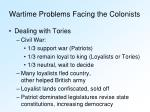 wartime problems facing the colonists3