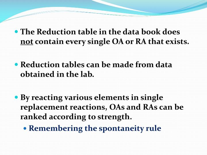 The Reduction table in the data book does