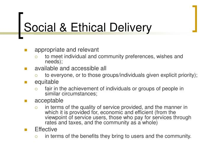 Social & Ethical Delivery
