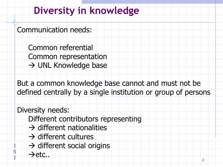 Diversity in knowledge