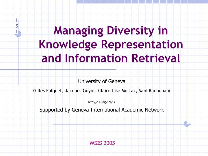 Managing diversity in knowledge representation and information retrieval