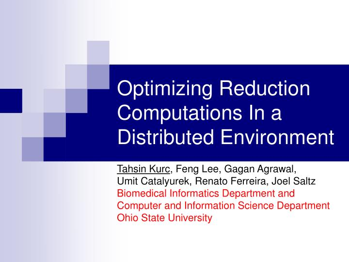 optimizing reduction computations in a distributed environment n.