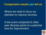 comparative results can tell us