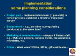 implementation some planning considerations
