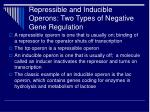 repressible and inducible operons two types of negative gene regulation