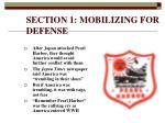 section 1 mobilizing for defense