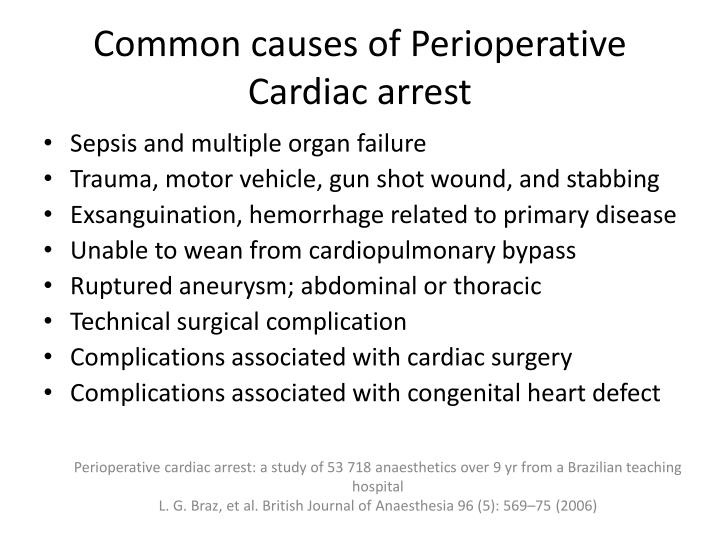 common causes of p erioperative cardiac arrest n.
