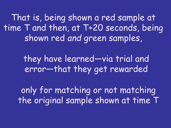 That is, being shown a red sample at time T and then, at T+20 seconds, being shown red