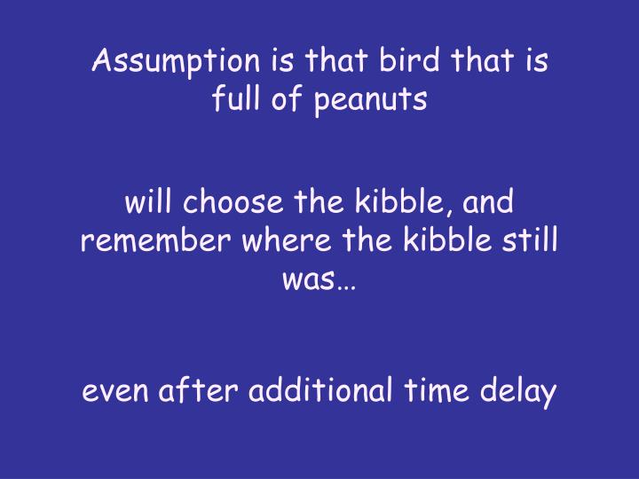 Assumption is that bird that is full of peanuts