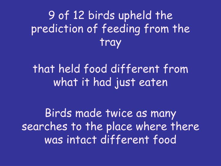 9 of 12 birds upheld the prediction of feeding from the tray