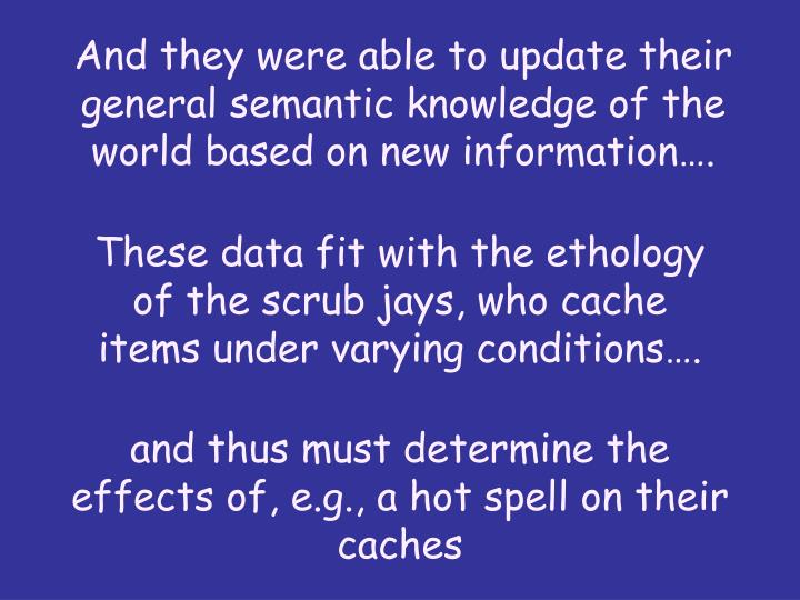 And they were able to update their general semantic knowledge of the world based on new information….