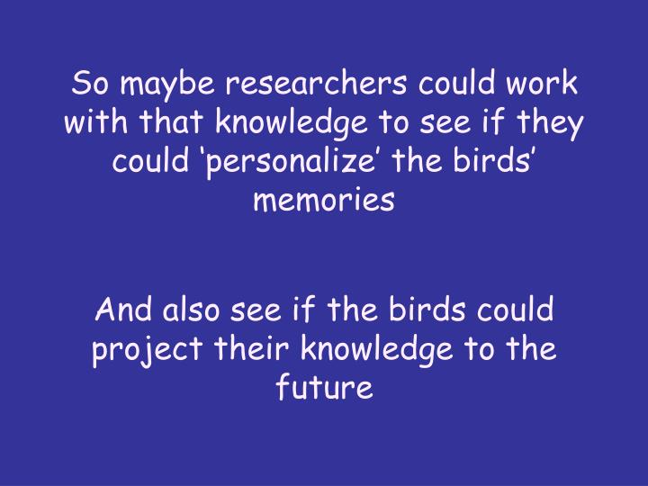 So maybe researchers could work with that knowledge to see if they could 'personalize' the birds' memories