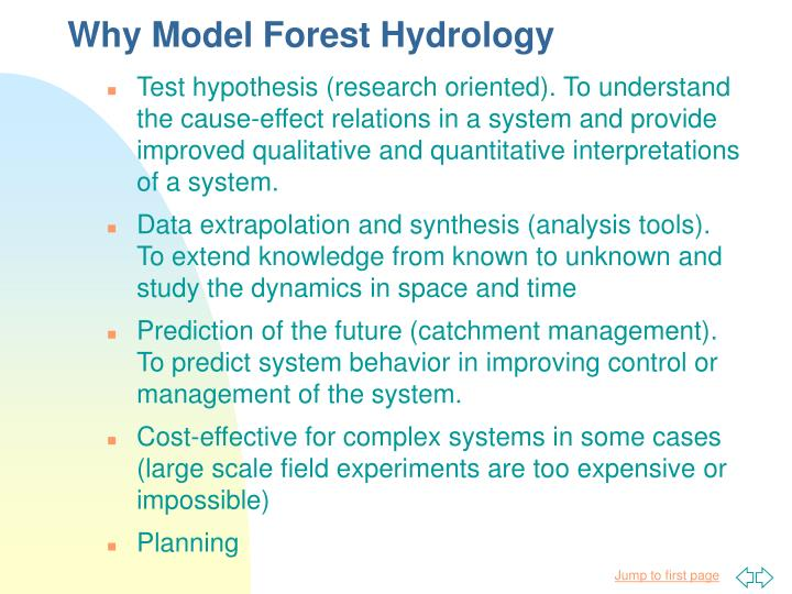 why model forest hydrology n.