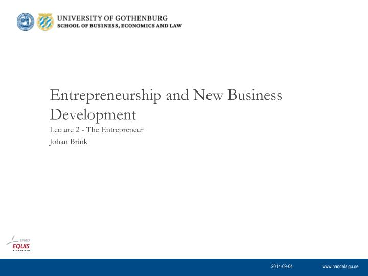 entrepreneurship and new business development n.