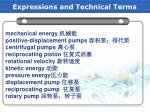 expressions and technical terms