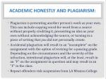 academic honestly and plagiarism