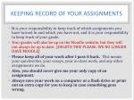 keeping record of your assignments