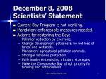 december 8 2008 scientists statement