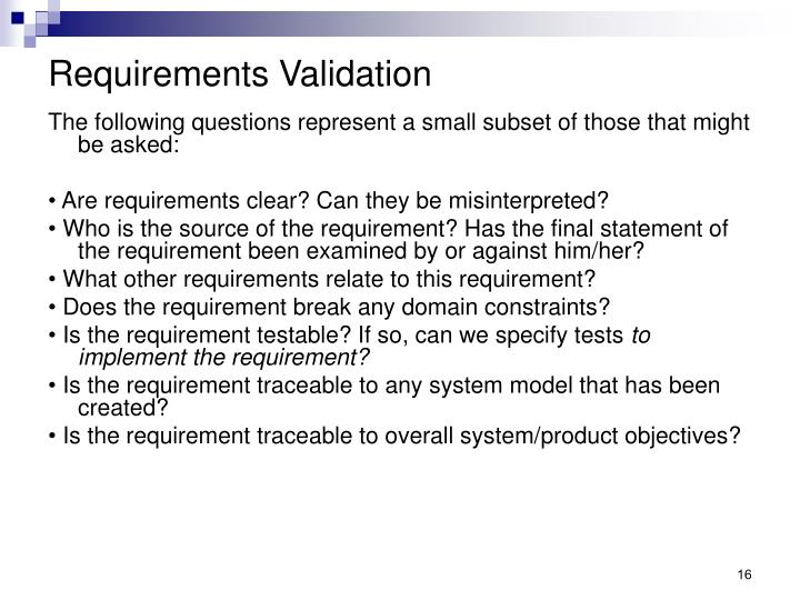 Requirements Validation