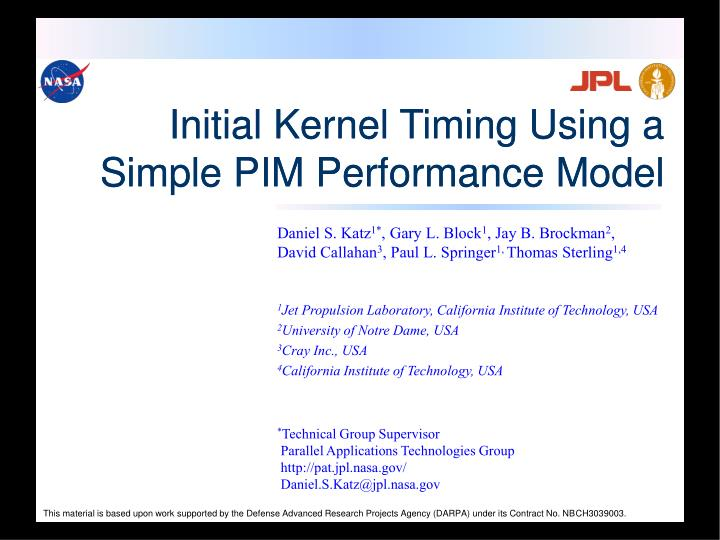 initial kernel timing using a simple pim performance model n.