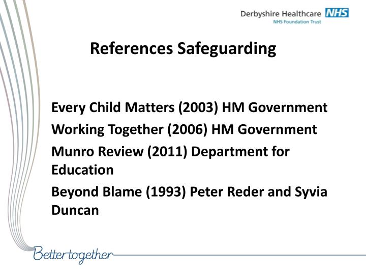 References Safeguarding
