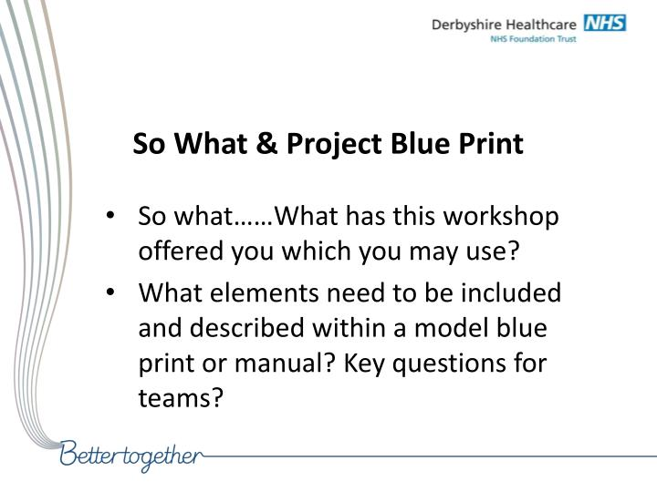 So What & Project Blue Print