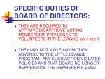 specific duties of board of directors1